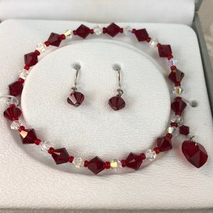 NWT sterling silver & red Swarovski elements set